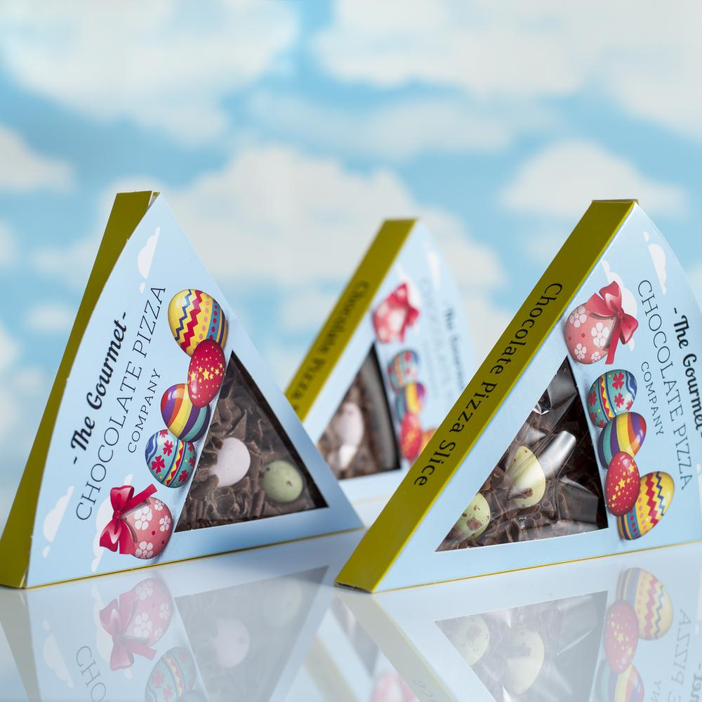 Our delicious Easter Pizza slices are packaged in a delightful Easter-themed box