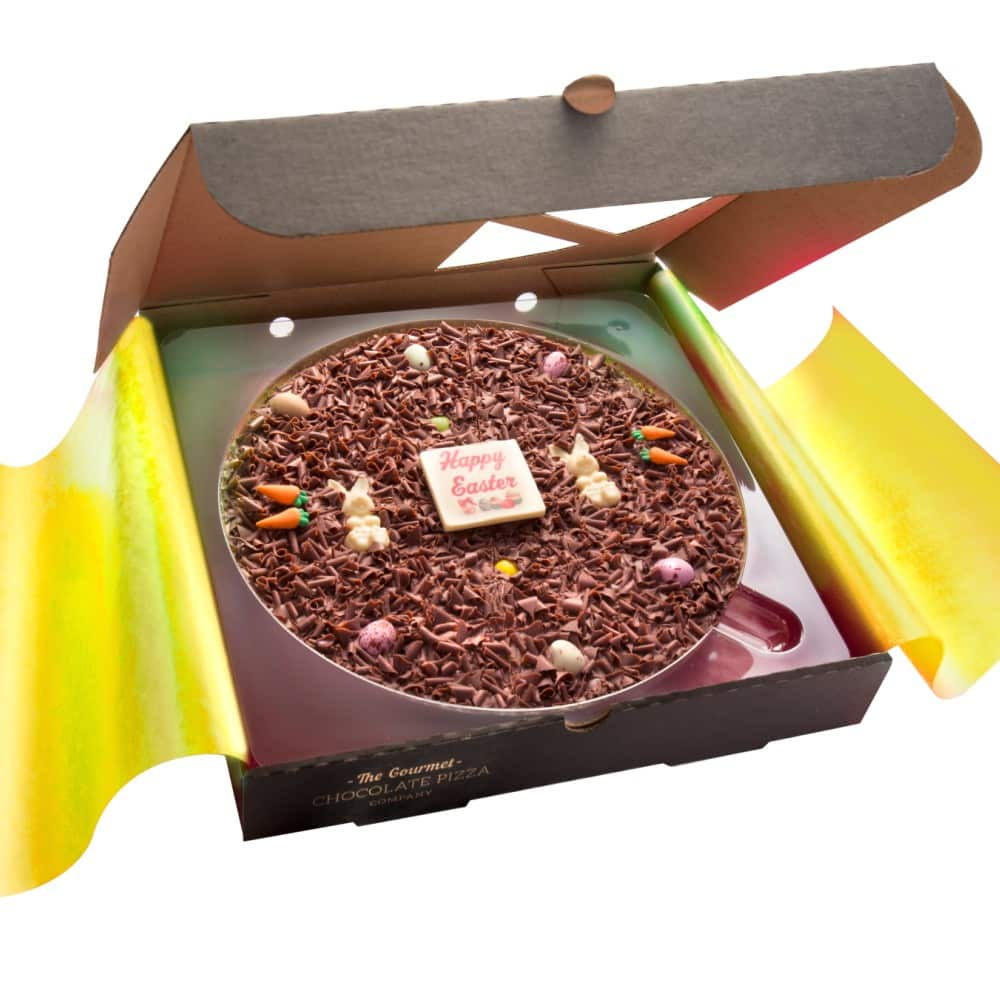10 inch Easter Egg Chocolate Pizza, presented in a pizza box