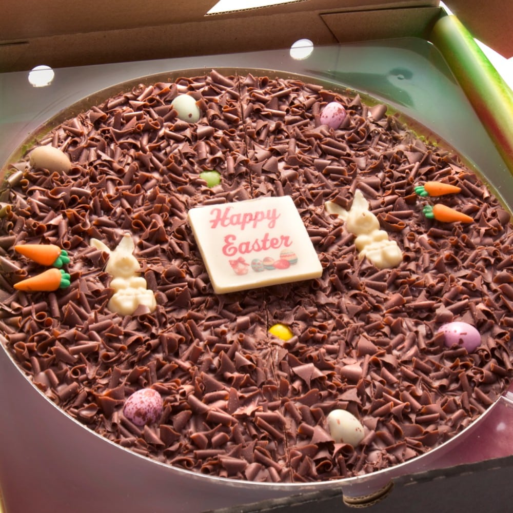 Close up of decoration on a 10 inch Easter Egg Chocolate Pizza