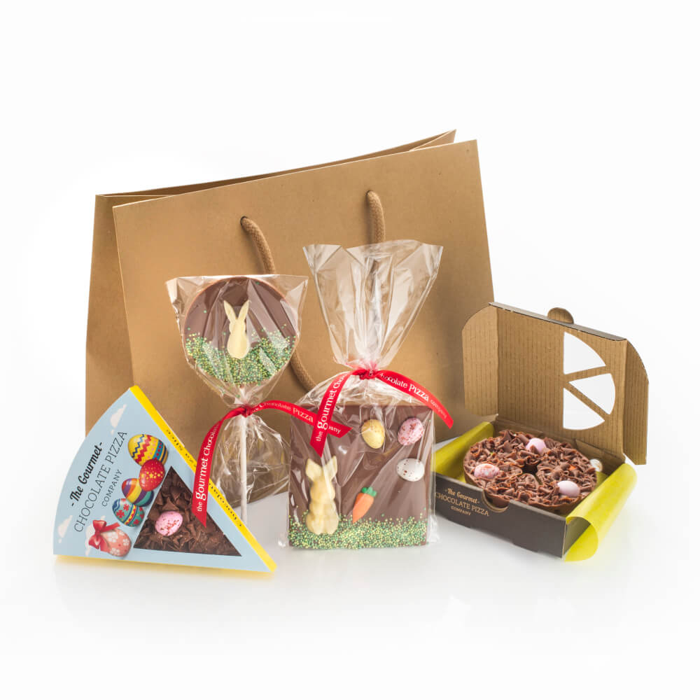Our Easter Chocolate Gift Bag contains four Easter-themed Chocolate Gifts