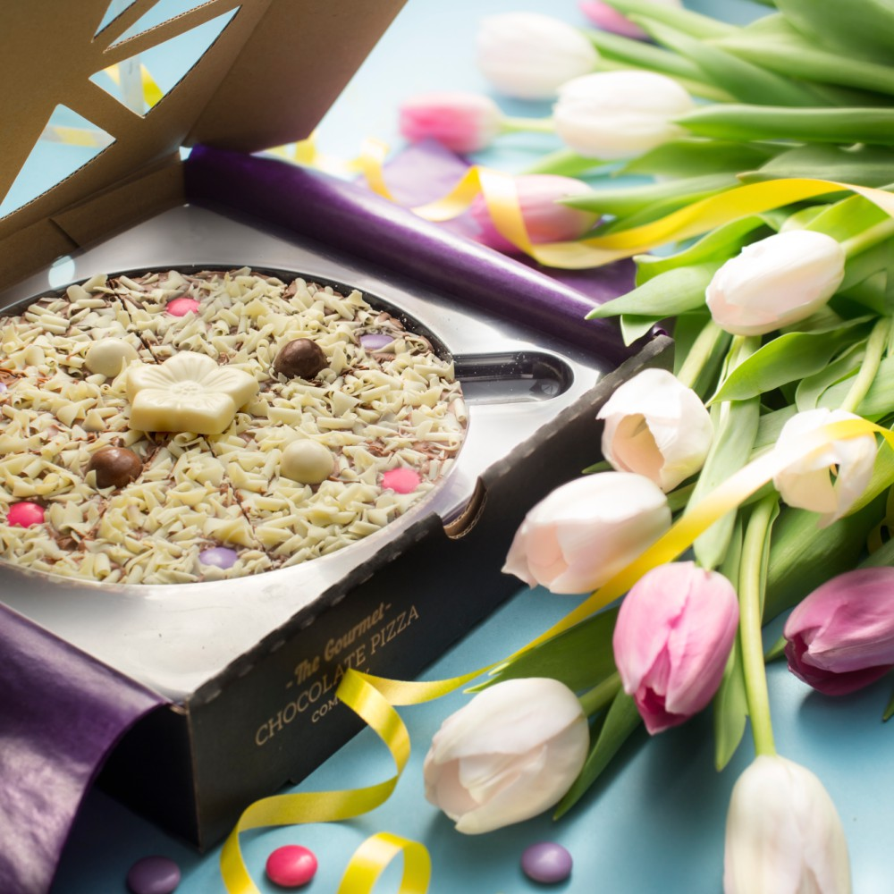 Our Flower Chocolate pizza makes a beautiful gift for birthdays and Mother's Day