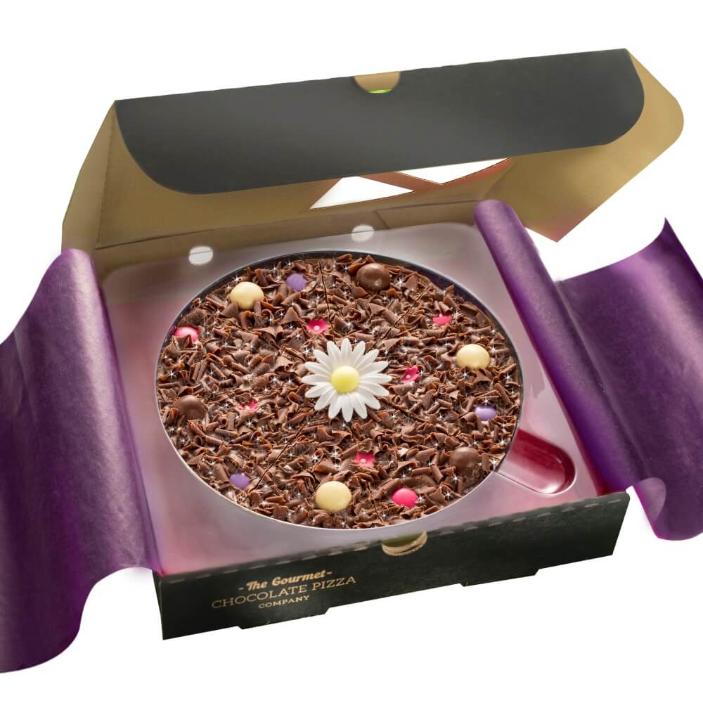 Our Flower Chocolate pizza makes a beautiful gift for birthdays and Mother's Day.