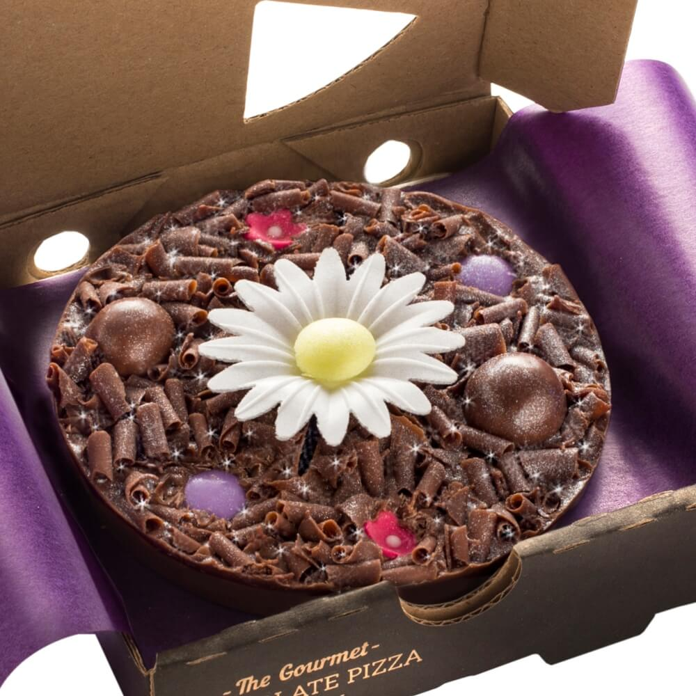 Mini Flower Chocolate Pizza decorated with spring coloured rainbow drops and milk chocolate riceballs.