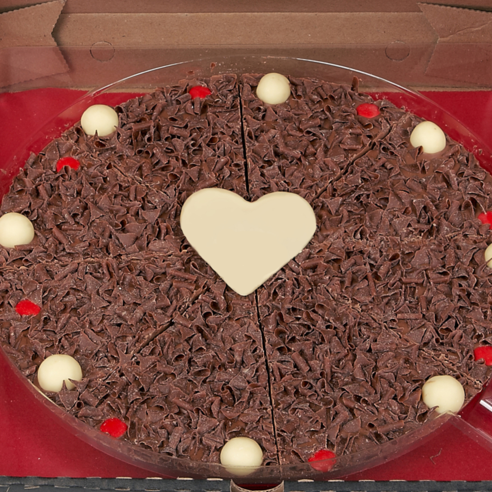 "10"" Valentines Pizza with milk chocolate curls, white chocolate love heart and red rainbow drops"