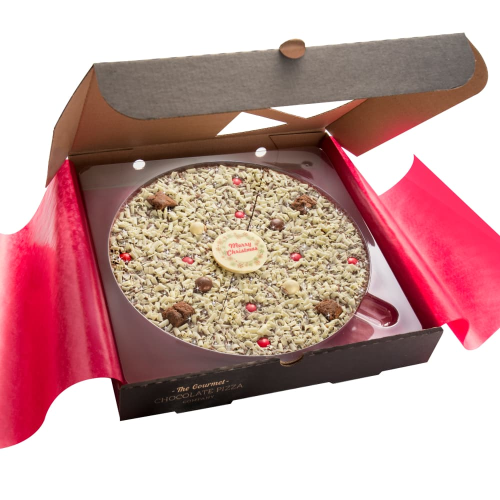 Each Christmas Chocolate Pizza carries a central white chocolate plaque with a Merry Christmas message.