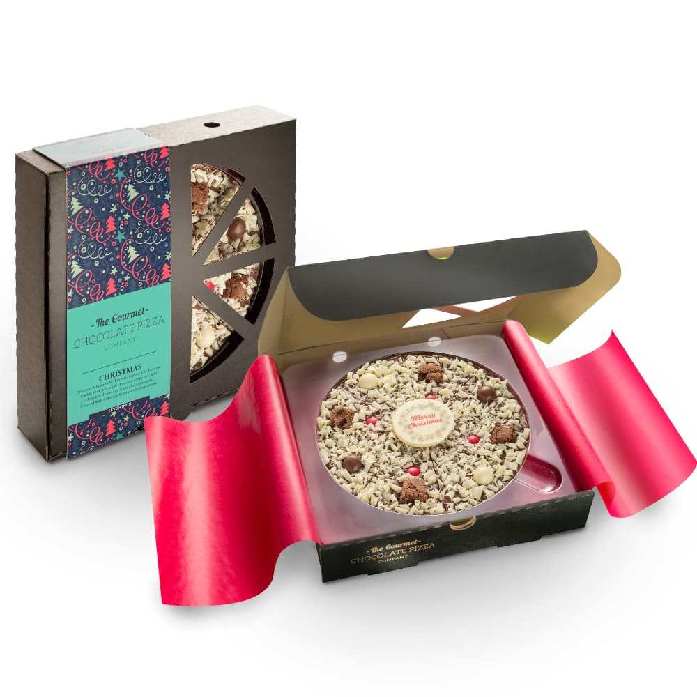 7 inch Christmas Chocolate Pizza will be delivered in a black stylish pizza box with a festive wrap-around sleeve.