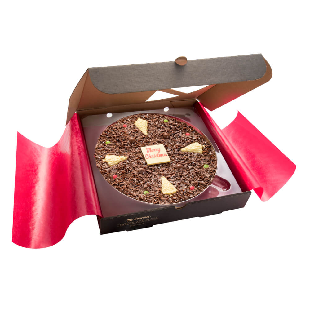 Each Christmas Chocolate Pizza carries a central white chocolate plaque with a Merry Christmas plaque.