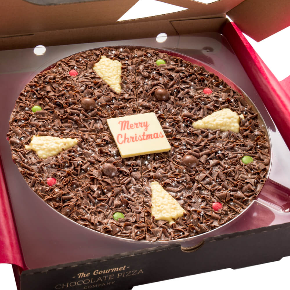 10 inch Christmas Chocolate Pizza features white chocolate christmas trees, milk chocolate rice balls and festive red and green rainbow drops.