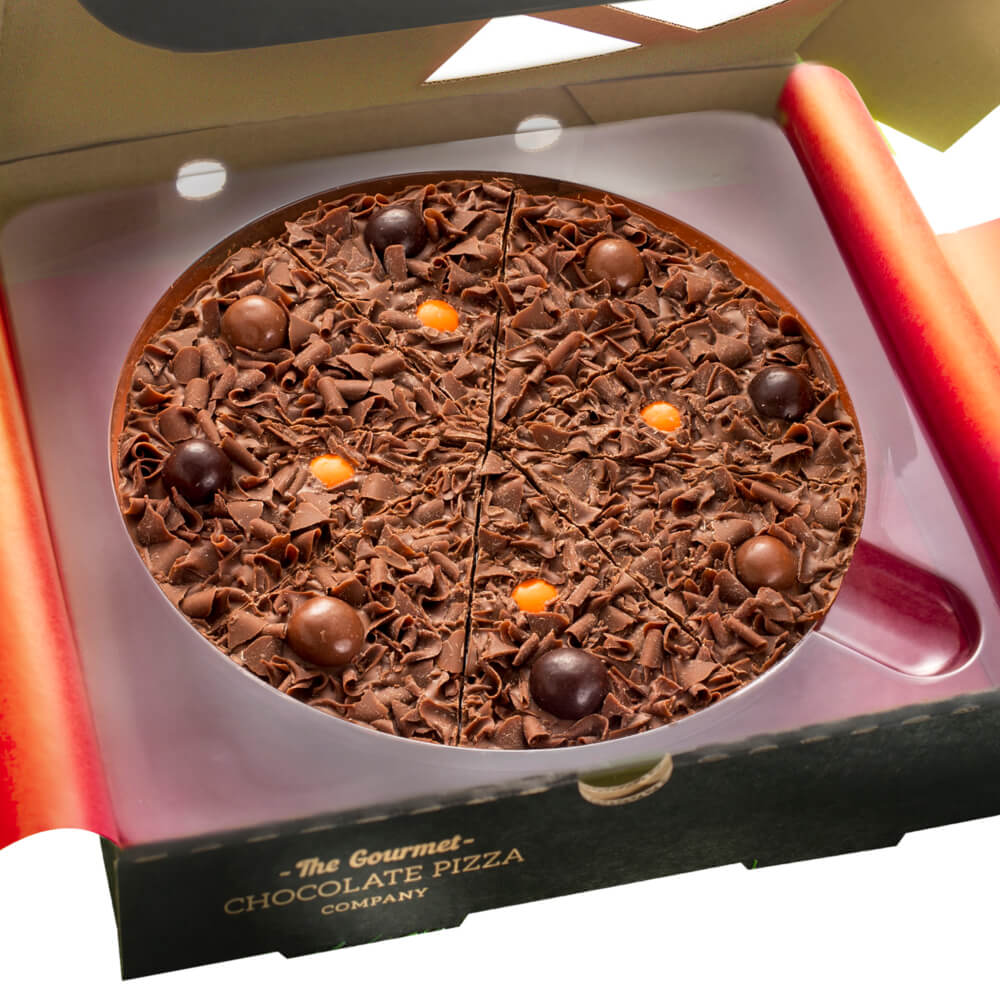 7 inch Spiced Rum Chocolate Pizza flavoured with Rum, cinammon and nutmeg - the taste of christmas in a chocolate pizza.