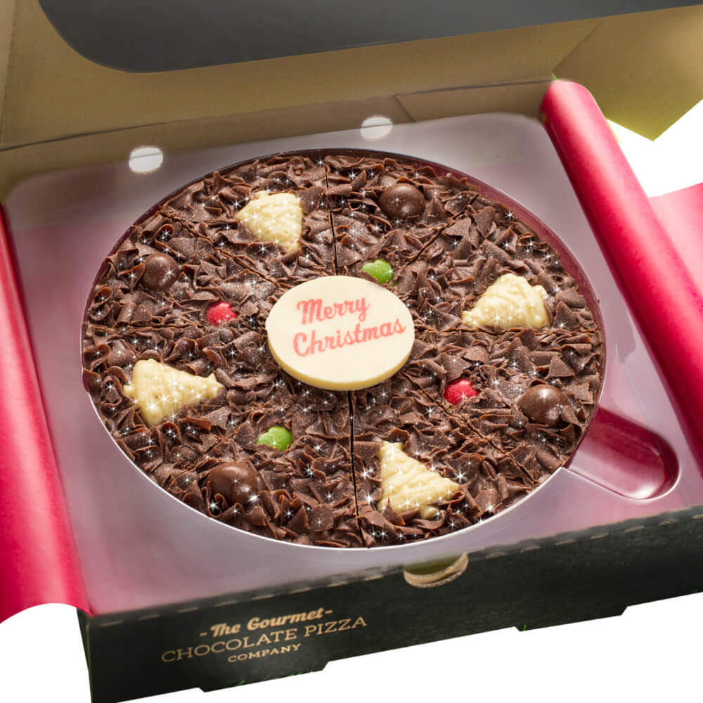 Our delicious 7 inch Christmas-themed chocolate pizza is the perfect gift!