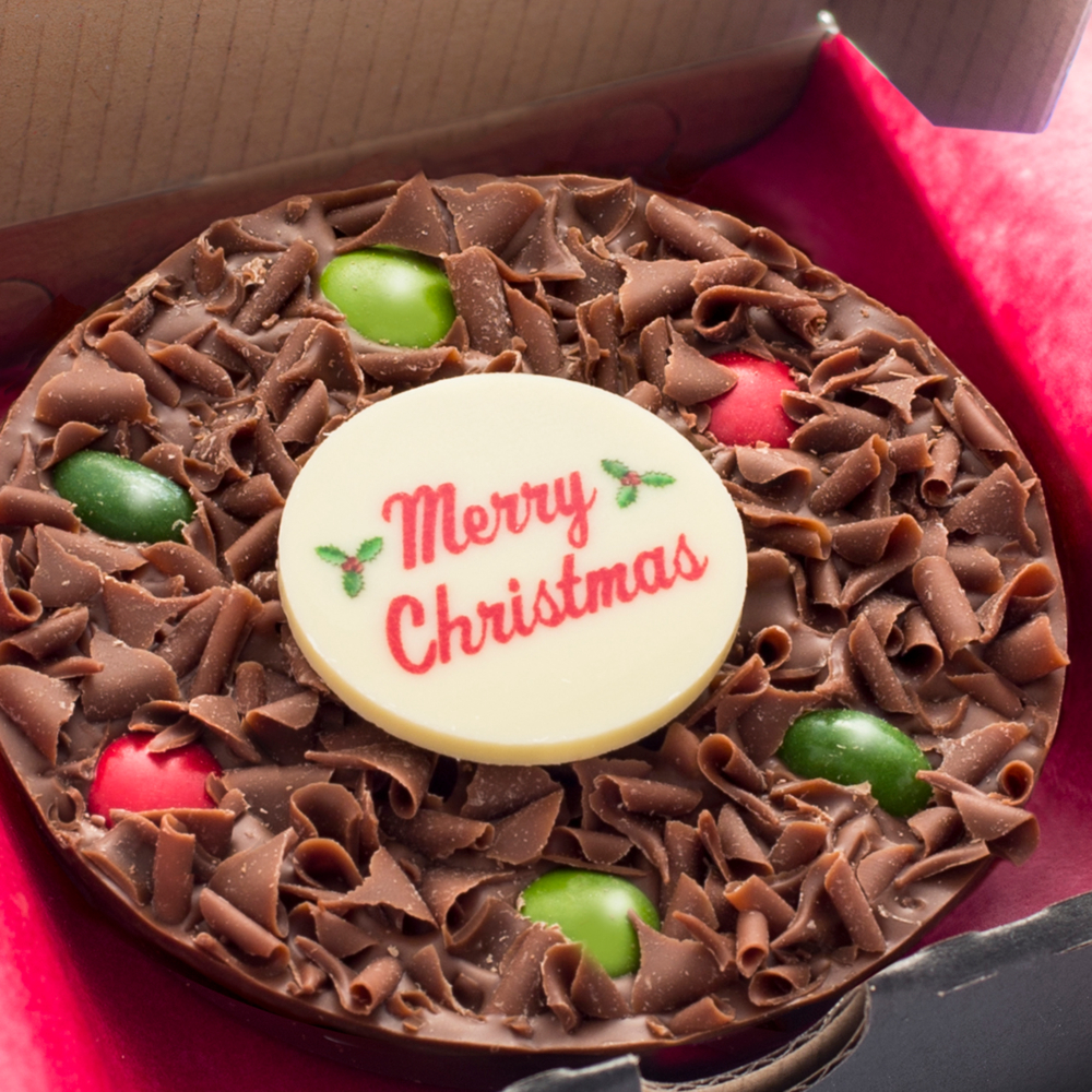 Say Merry Christmas with one of our festive Mini Chocolate Pizzas