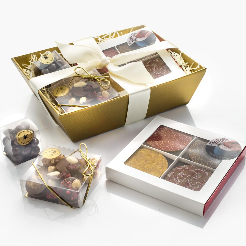 Our beautiful Café Hamper includes Topitoffs, Palet Gourmands and Dark Chocolate Coffee Beans