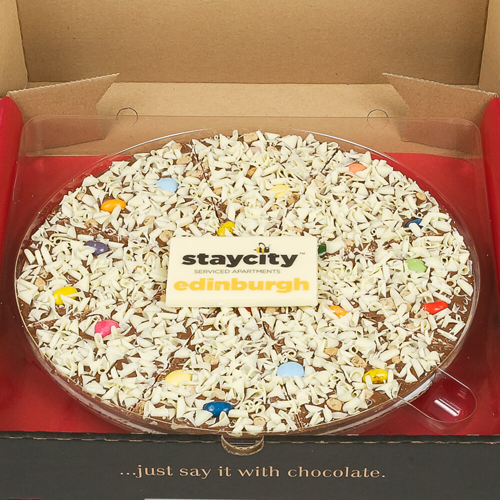Our chocolate pizzas can be customised to reflect your business