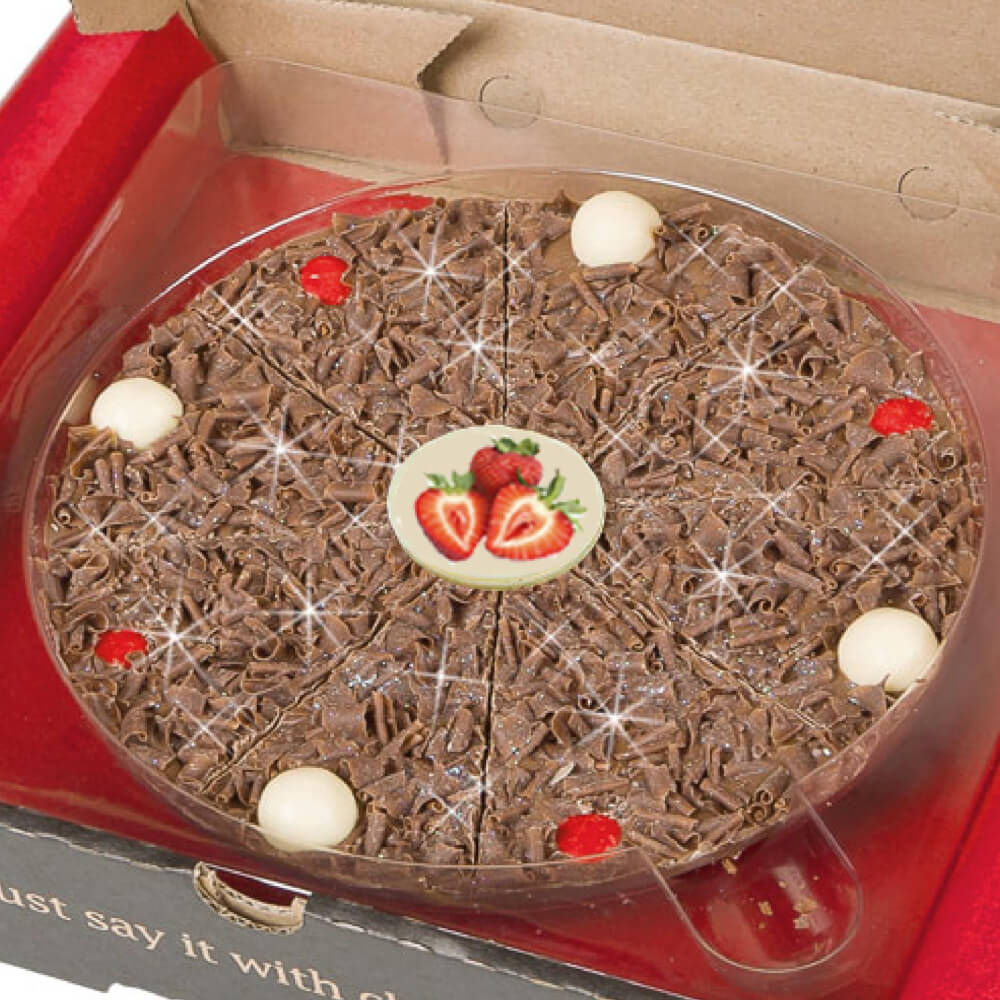 Strawberry Sensation Chocolate Pizza with freeze dried strawberries, milk chocolate and popping candy