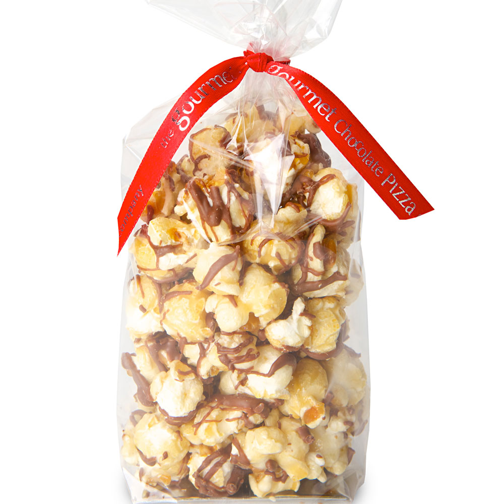 Toffee popcorn drizzled with chocolate