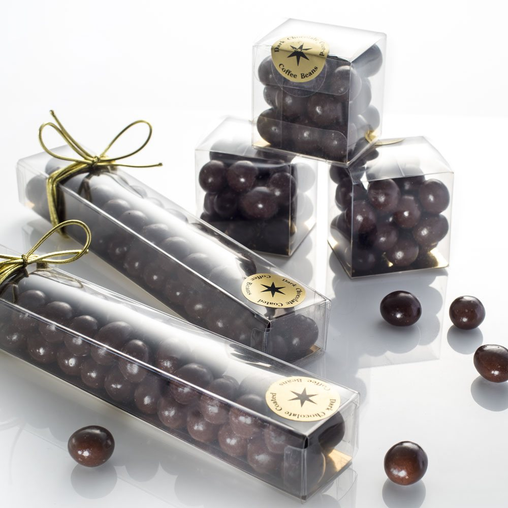 Our Dark Chocolate Coffee Beans come in 50g cubes and 80g tubes.
