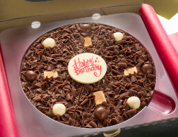 Happy Birthday Chocolate Pizza in various flavours