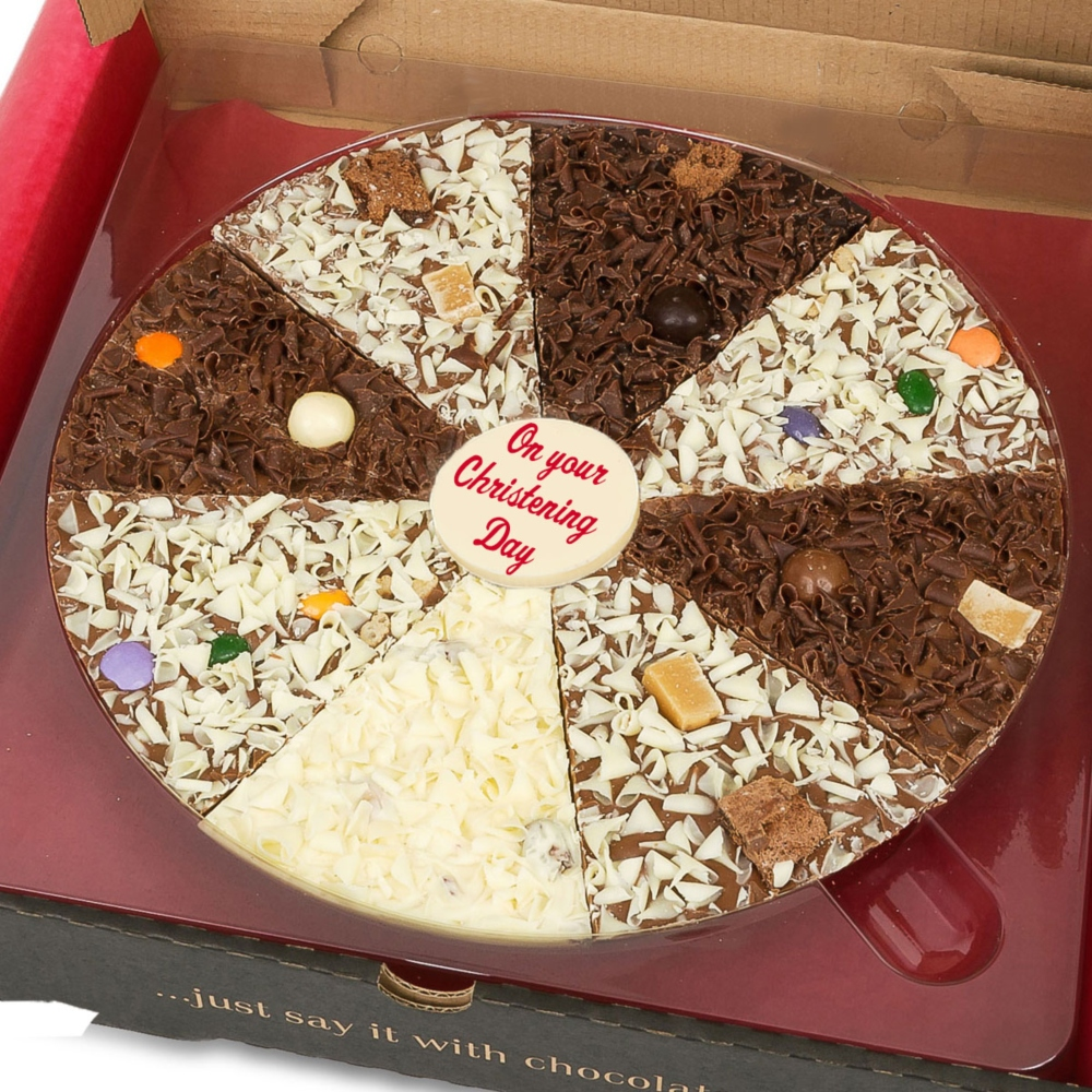 Great for Christenings - personalise our chocolate pizzas with your own message