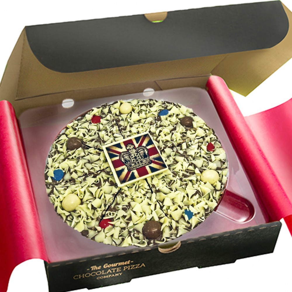 Union Jack Chocolate Pizza is presented in a traditional pizza box
